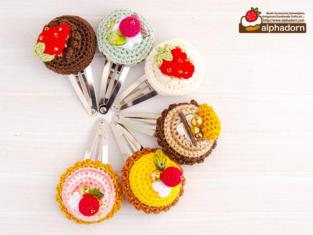 あみぐるみケーキとタルトのパッチンピン|alphadorn